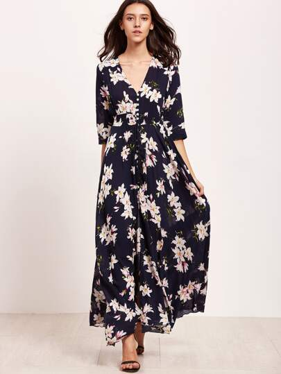 Navy Floral Print V Neck Drawstring Button Dress