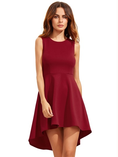 Burgundy Sleeveless Asymmetric Hem Flare Dress