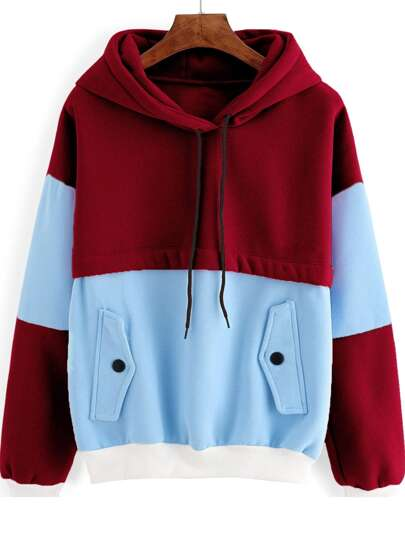 Color Block Contrast Trim Hooded Sweatshirt