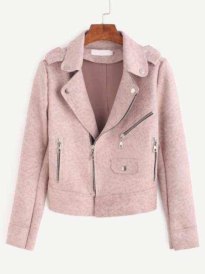 Pink Epaulet Zipper Detail Suede Biker Jacket