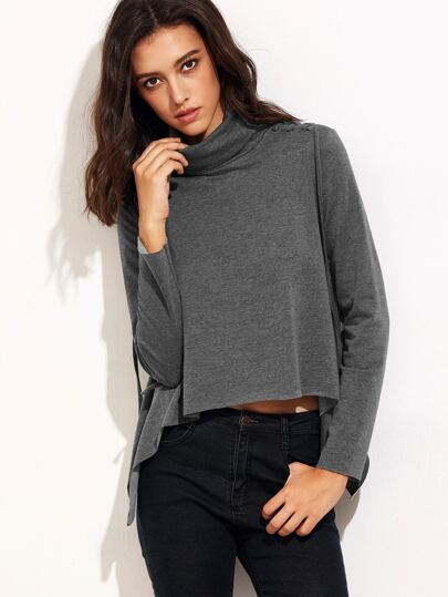 Heather Grey High Neck Asymmetric T-shirt With Lace Up Detail
