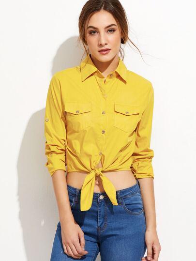 Yellow Roll Tab Sleeve Knotted Hem Shirt