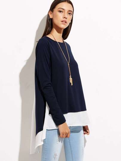 Contrast Cut And Sew High Low T-shirt