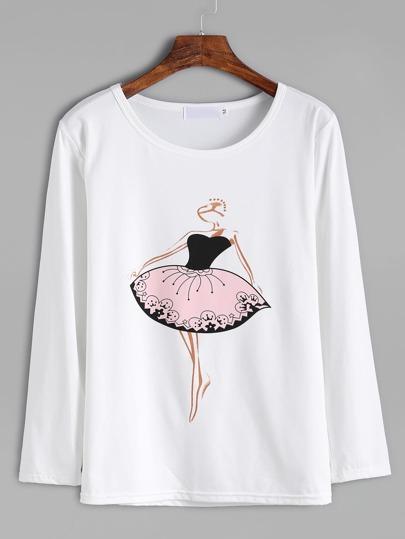 Camsieta con estampado de bailarina - blanco