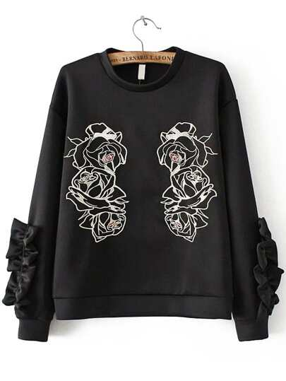 Black Flower Embroidery Crew Neck Sweatshirt
