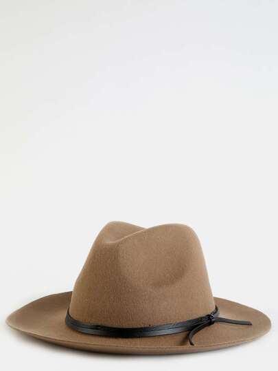Leather Trim Fedora Hat TAUPE