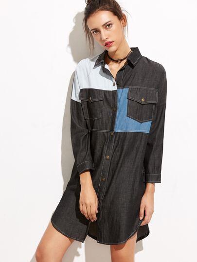 Black Color Block Curved Hem Denim Dress
