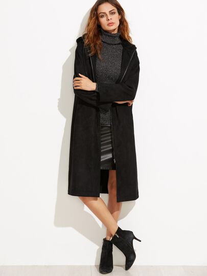 Black Suede Zip Up Hooded Coat