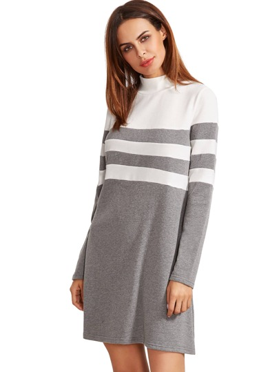 Grey Long Sleeve Shift Dress