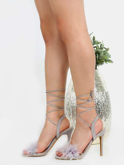 Open Toe Feather Wrap Heels GREY