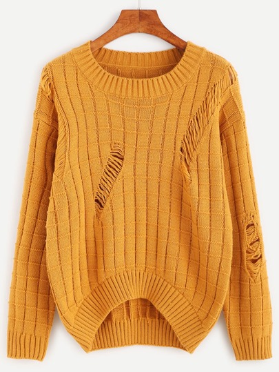 Mustard Geo Pattern Ripped High Low Sweater