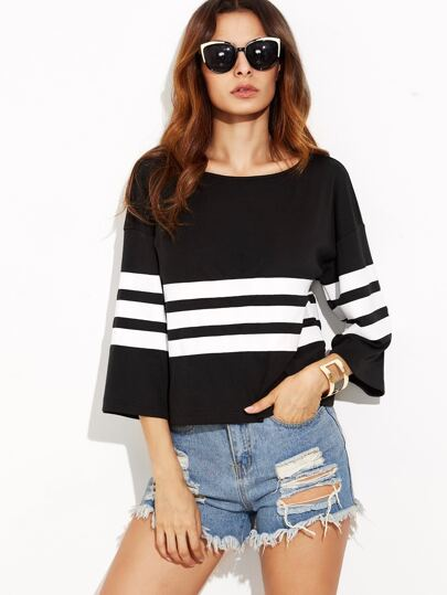 Black Striped Drop Shoulder Kimono Sleeve T-shirt