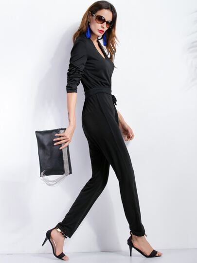 Black V Neck Self Tie Jumpsuit