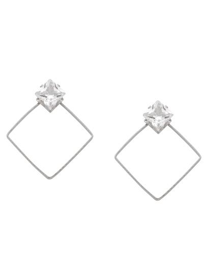 Silver Hollow Geometric Rhinestone Stud Earrings