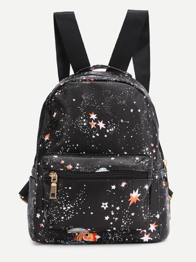 Black Starry Night Print PU Backpack