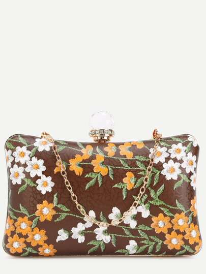 Brown PU Floral Print Jewelled Evening Bag