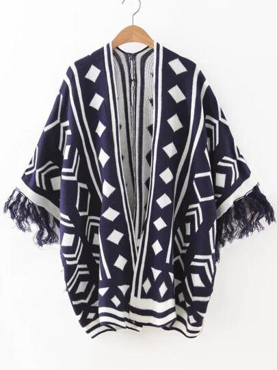 Navy Geometric Pattern Fringe Cuff Cape Sweater