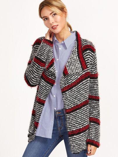 Multicolor Striped Pattern Drape Collar Fluffy Cardigan