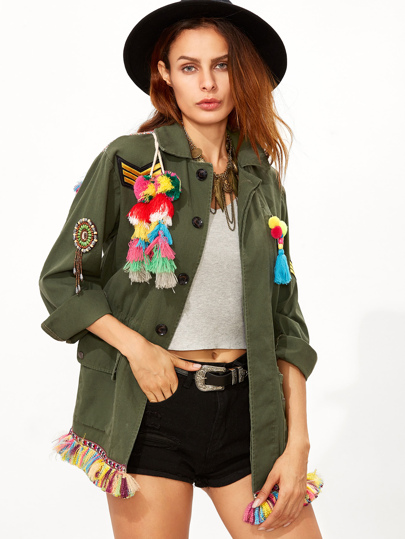 Olive Green Tribal Back Tassel Embellished Utility Jacket