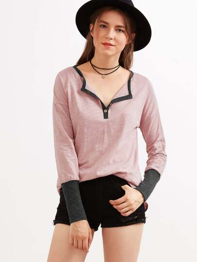 Pink Contrast Neck And Wide Cuff Slub T-shirt