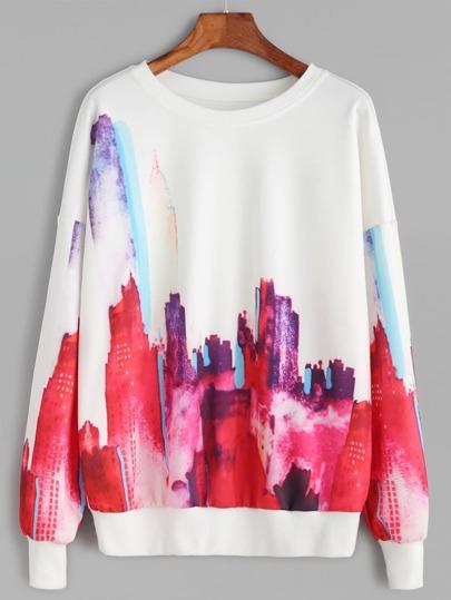 White Abstract Print Drop Shoulder Sweatshirt
