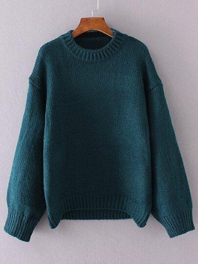 Dark Green Crew Neck Drop Shoulder Sweater