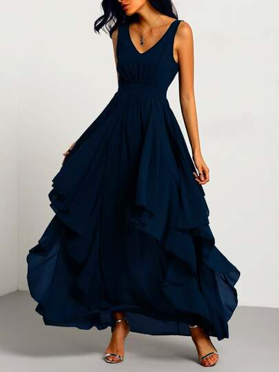 Navy Deep V Neck Layered Chiffon Dress