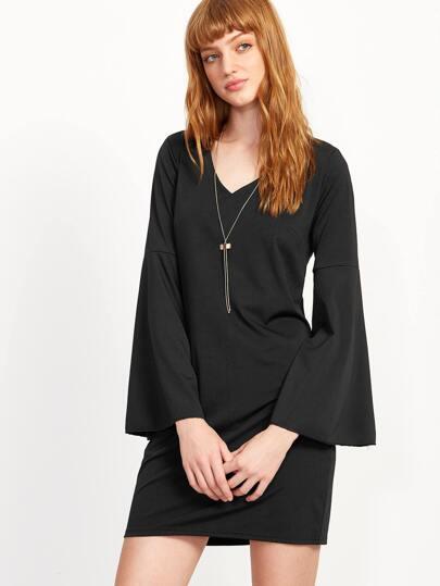 Black V Neck Bell Sleeve Shift Dress
