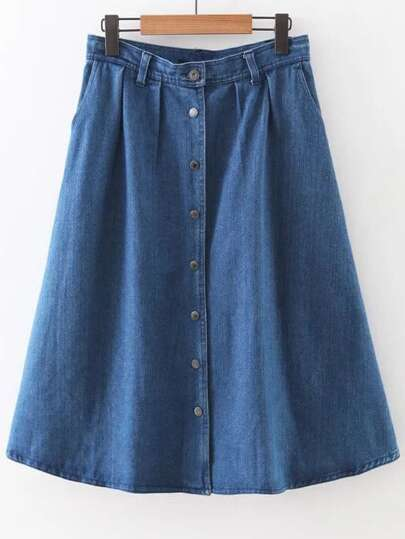 Blue Button Up Denim A-Line Skirt