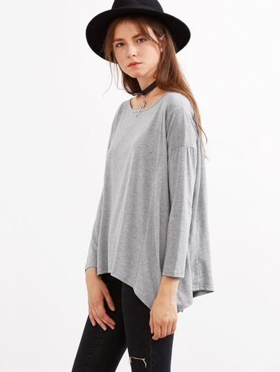 Camiseta asimétrica con hombro caído - gris