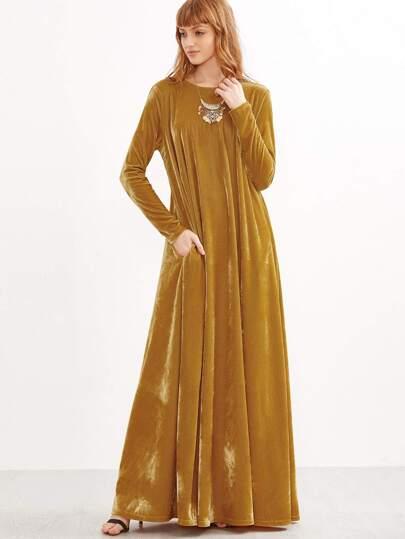 Vestido estilo tienda de terciopelo con manga dolman - mostaza