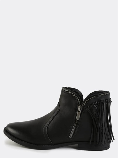 Fringe Exposed Zipper Boots BLACK
