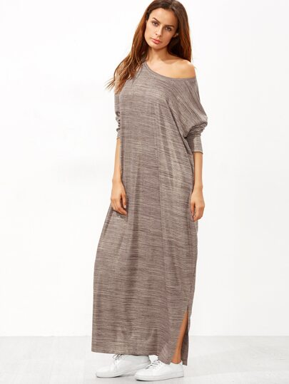 Brown Marled Knit Side Slit Maxi Dress