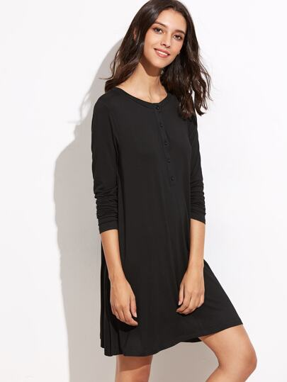 Black Button Neck Swing Tee Dress