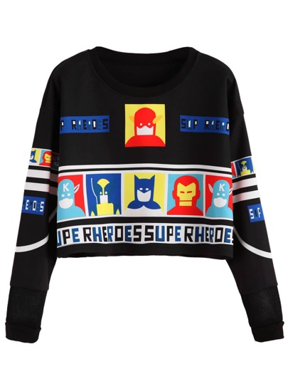 Black Cartoon Print Crop Sweatshirt
