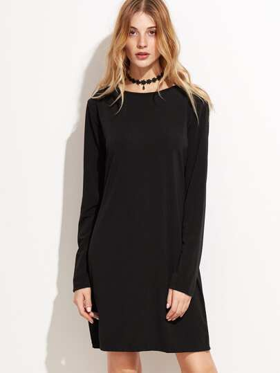 Black Long Sleeve Basic Tee Dress