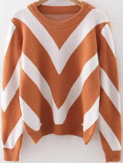 Khaki Chevron Pattern Ribbed Trim Sweater