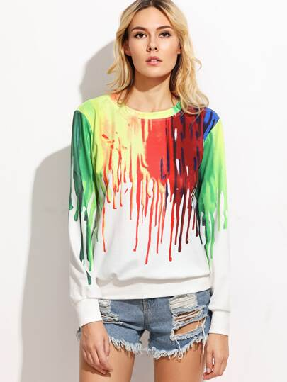 Multicolor Ink Drop Print Sweatshirt