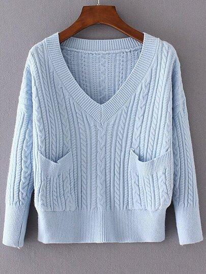 Blue Cable Knit V Neck Pocket Sweater