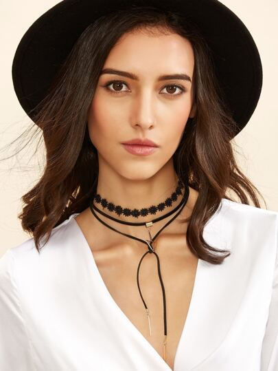 Black Layered Geometric Pendant Choker Necklace