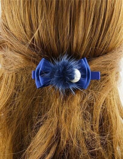 Blue Pearl Bow Tie Hair Clip