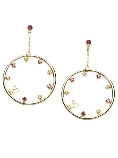 Gold Plated Circle Rhinestone Skull Drop Earrings