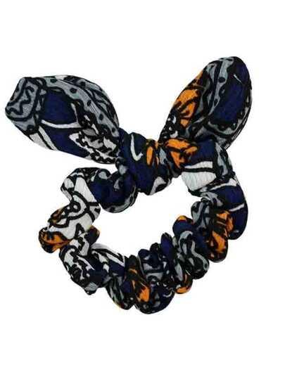 Navyblue Printed Bowknot Shape Headband Accessory