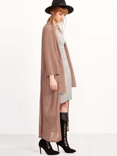 Pink Long Sleeve Asymmetrical Chiffon Kimono