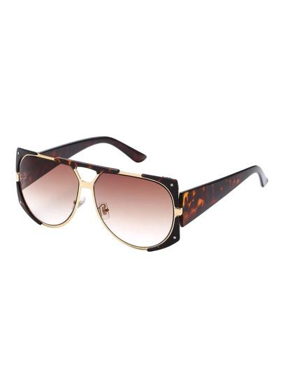 Leopard Print Open Frame Double Bridge Metal Trim Sunglasses