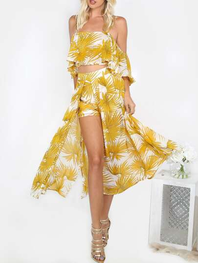 Lightweight Open Leg Printed Co-ord Set YELLOW