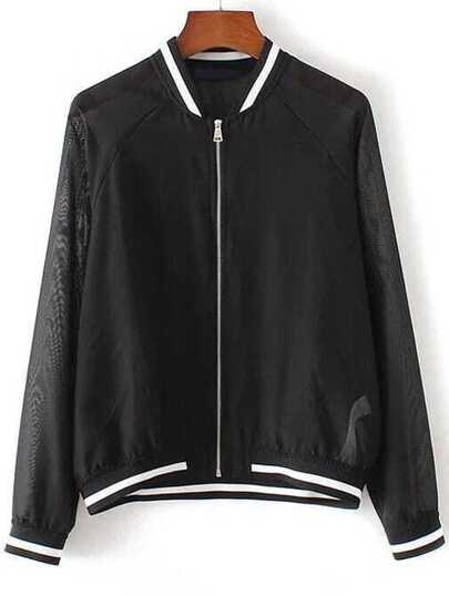 Black Contrast Trim Raglan Sleeve Mesh Jacket