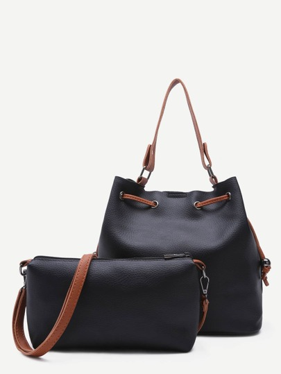 Black PU Drawstring Tote Bucket Bag With Crossbody Bag