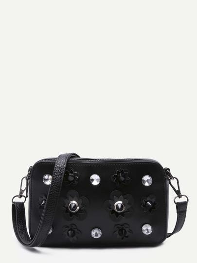 Black PU Rhinestone Floral Patch Mini Crossbody Bag