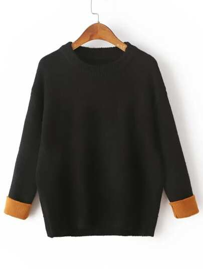 Black Drop Shoulder Contrast Cuff Sweater